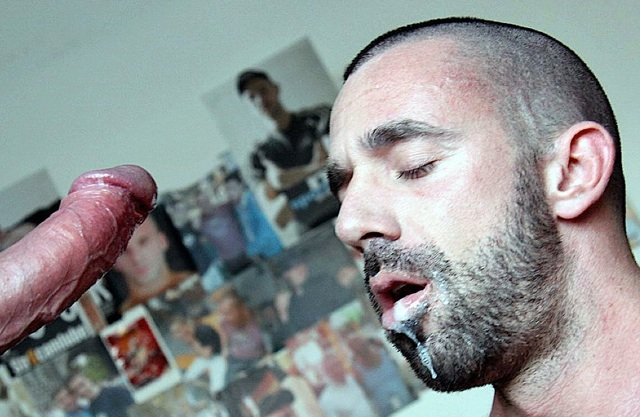 Jorge Balantino's hungry mouth dripping a load