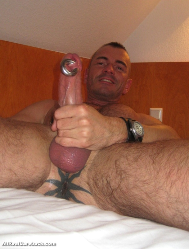 Pig Jan Losch showing off his fuck hole tattoo and pierced dick (Prince Albert)