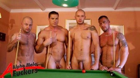 Four naked beefy guys playing pool