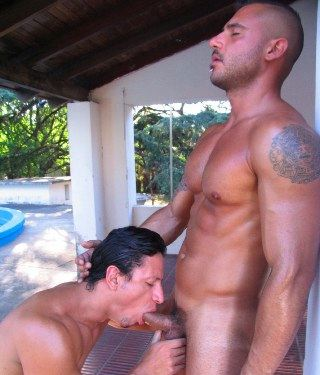 Beefy ripped guy gets his cock sucked