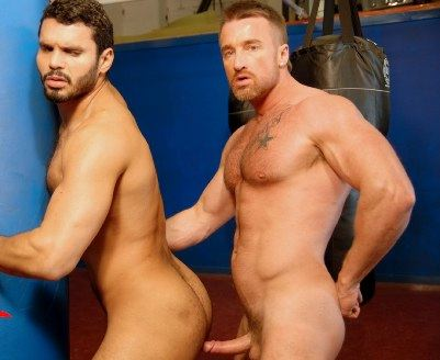 Muscle top Ross Hurston rubs his raw cock on Jean Franco's beefy ass.