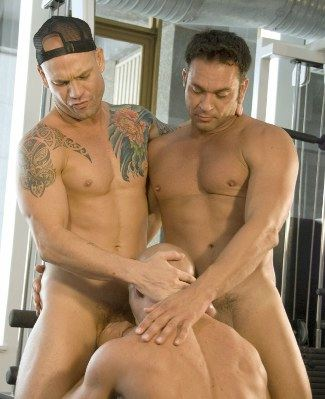 Kurt Rogers and Jed Wilcox get their hard cocks serviced by DJ in the gym