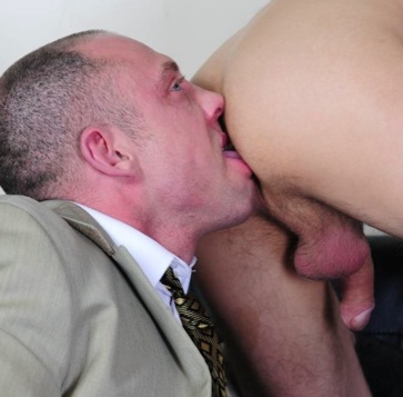 duke preps his office boy's hole for a hot fuck