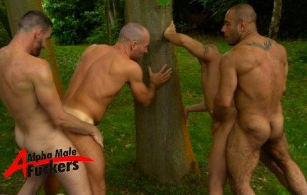 Two tops, two bottoms fuck outdoors against a tree