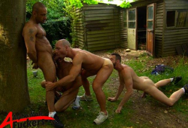 4way sex - two guys suck cock, one guy rimming