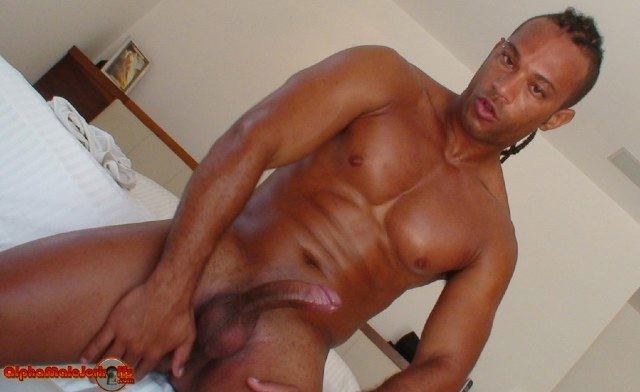 Dark skinned body builder and his curved cock