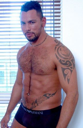 Muscled hairy Latin guy in his underwear