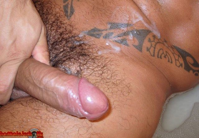 Thick uncut cock after shooting hot wad of cum