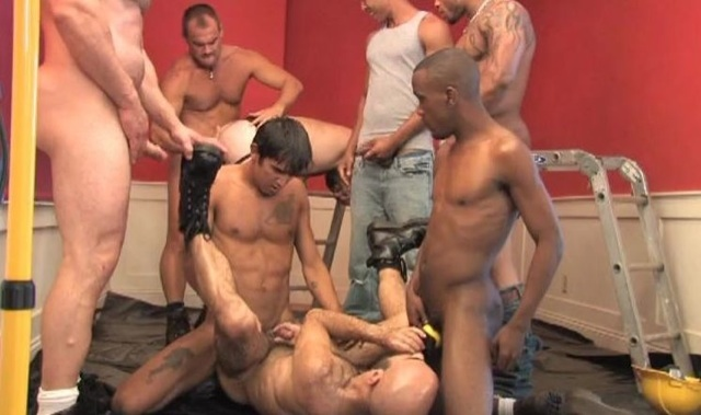 Group of hot naked construction workers fucking