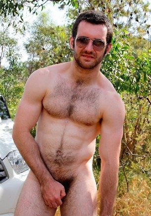Hot furry jock plays with himself outside