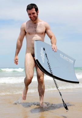 Hot young muscle cub plays in the surfe naked