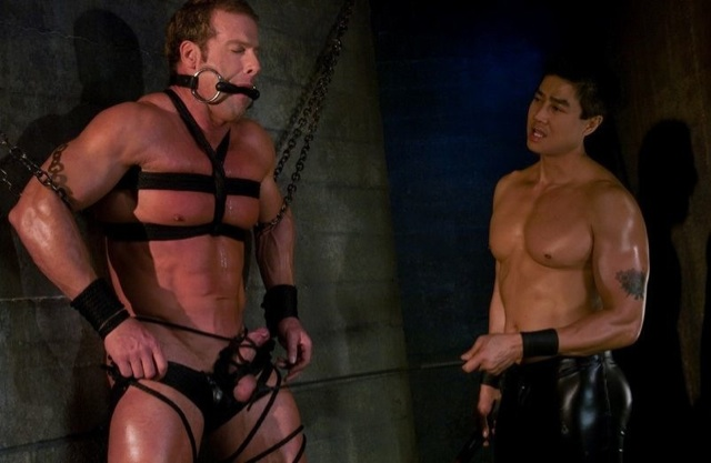 Muscle boy Derek restrained and tortured by Van