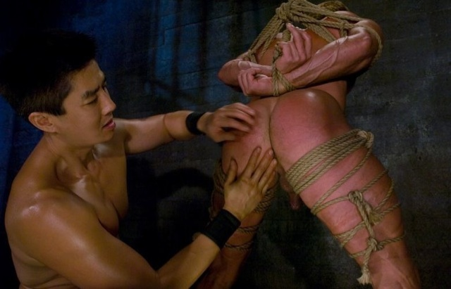 Derek bound, getting his meaty ass played with by Van Darkholme