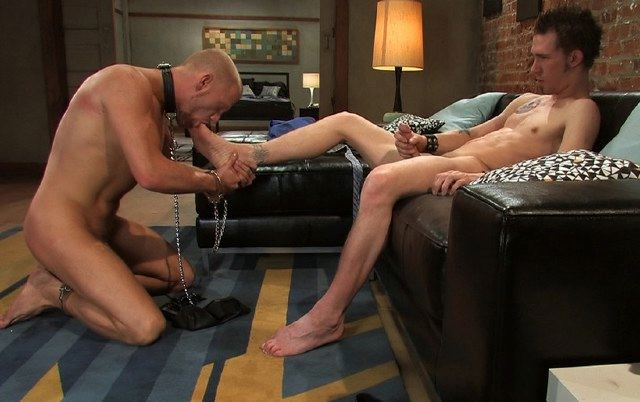 James Hamilton makes his slave Luke Riley suck and lick his feet