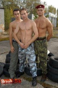 Three hot shirtless soldiers