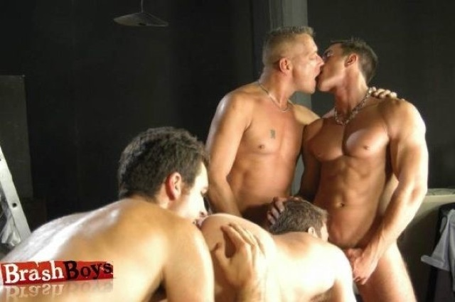 4 guys sucking and kissing