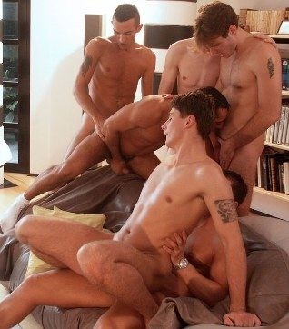 Six Euro boys including Pascal Bruno, David Chelsea, and Kristztian Kovacs suck and fuck on a living room couch