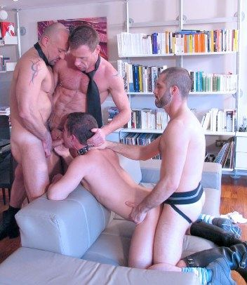 Three Daddies use Ashley Riders ass and mouth for their pleasure