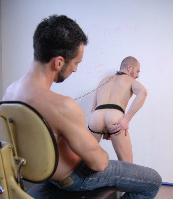 Smooth young submissive in dog collar shows off his tight hole