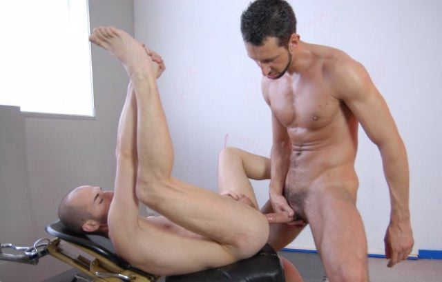 Marco lifts his leg to take raw cock in his young hole