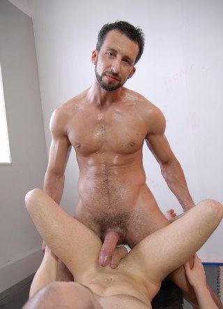 Sweaty Andreas and his huge dick ready to fuck his subs ass