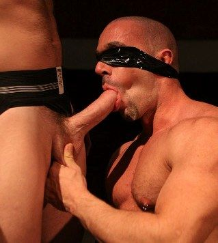 Hot pierced blindfolded pig sucking a big huge dick