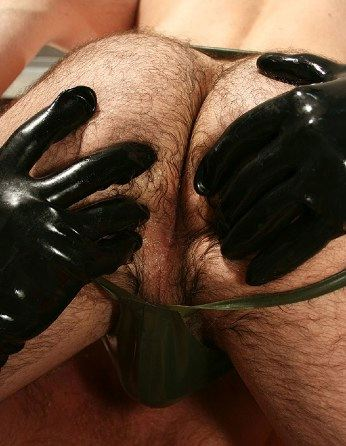 rubber clad hands sopread hairy bear cheeks