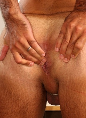Hairy beefy ass with pink hole ready for dick