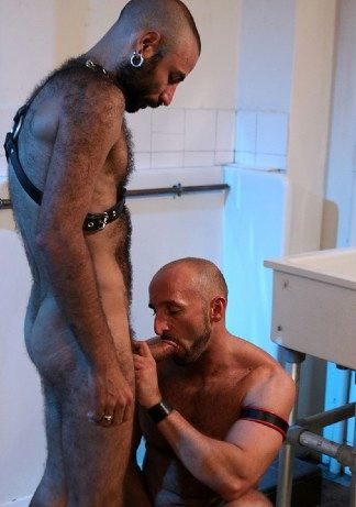 hairy Leather guy getting his thick cock sucked