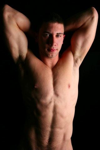hot shirtless muscle boy shows off his armpits