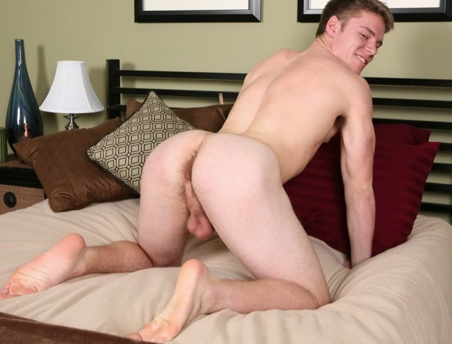 Hot blond college guy with his ass in the air