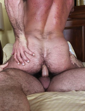 Beefy guy sitting on raw cock