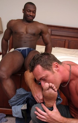White guy worships his black tops big feet