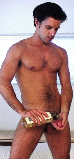 Furry stud lubes up his cock