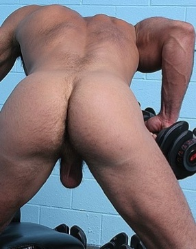 Ripped hunk shows his big muscles and balls