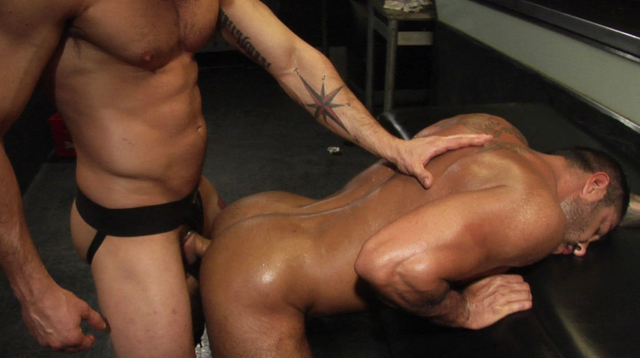 Dark muscular bottom bent over getting barebacked
