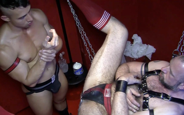 Hot young jock top about to wreck a hole with with fist