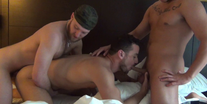 Leon Fox gets spit roasted by Devin Totter and Eli Hunter