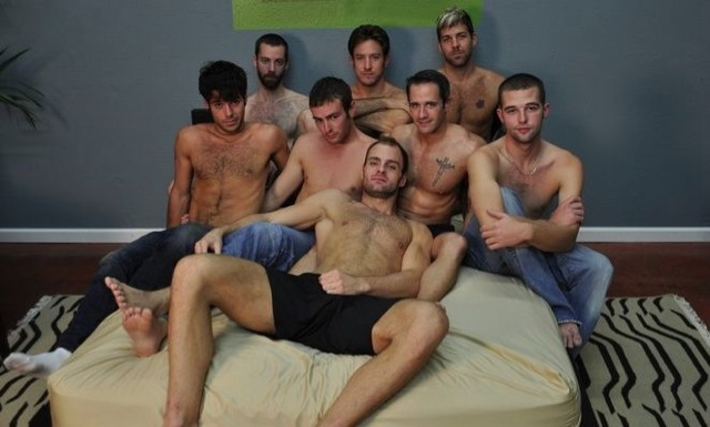 Hairy shirtless jocks on the bed