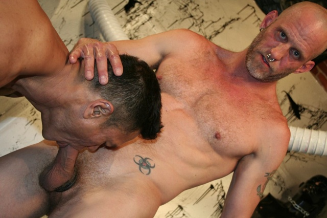 Inked Spit gets his hard dick worked over