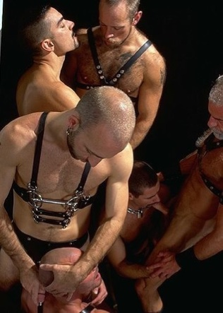Group of hot hair leather men playing