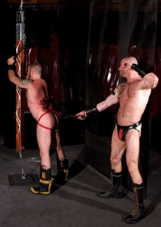 Daddy Ken Bruan flogging tied up boy Danny Mann