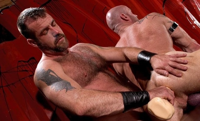 Furry Danny Mann forces a huge toy in Ken's tight ass