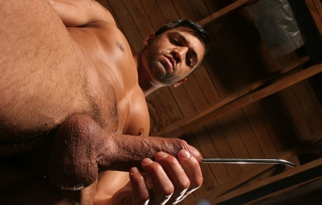 Dominic strokes his dick with a sounding rod