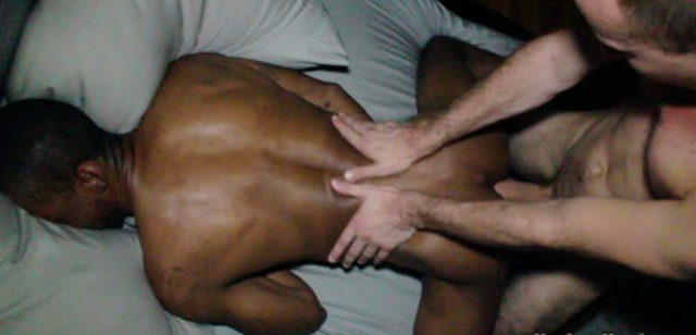 Black guy head down in a pillow getting fucked bareback
