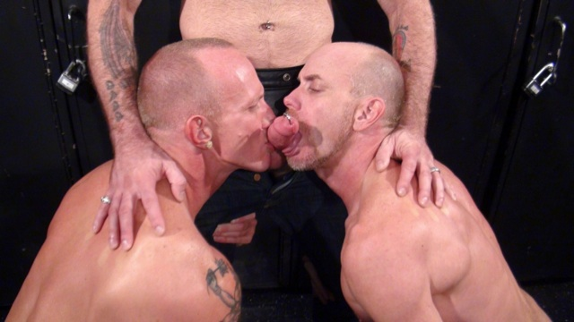 Mason and Parker slurp on Tober's pierced cock