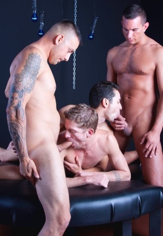 Inked Erik gets his dick sucked by Ian while Gabrial works Jason's knob