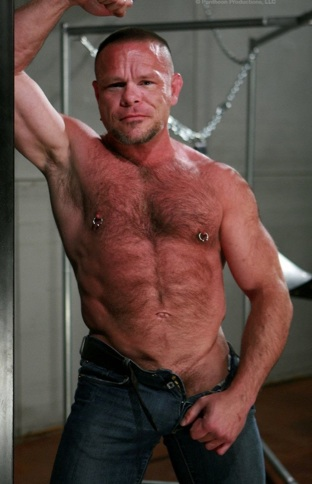 Shirtless hairy Daddy Peter Axel