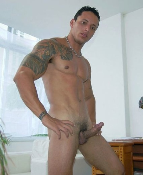 hot latin stud rocco showing off his body and thick uncut dick