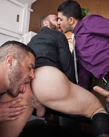 Derek Parker's well used hole about to be rimmed while he's also kissed